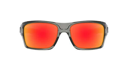 Oakley Men's OO9263 Turbine Rectangular Sunglasses, Grey Ink/Ruby Iridium Polarized, 65 mm
