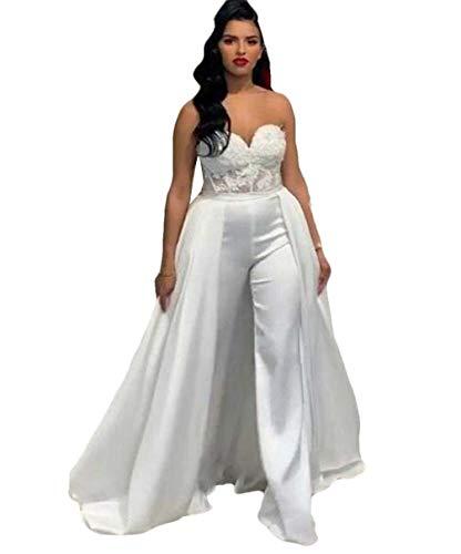 The Peachess Lace Stain Hochzeit Jumpsuit mit Abnehmbarem Rock 2020 Trägerlos Braut Hochzeitskleider mit Hosenanzug - elfenbein - 52