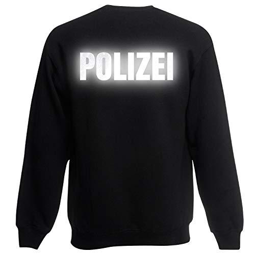 Shirt-Panda Herren Polizei Sweatshirt · Druck Brust & Rücken · Polizisten Pullover · Pulli für Polizeileute · Reflex · 80% Baumwolle · Police Sweater · Schwarz (Druck Reflex) L