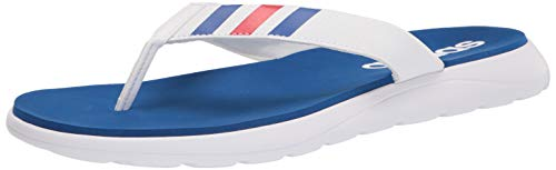 adidas Men's Comfort Flip Flop Slide Sandal, White/Team Royal Blue/Scarlet, 10