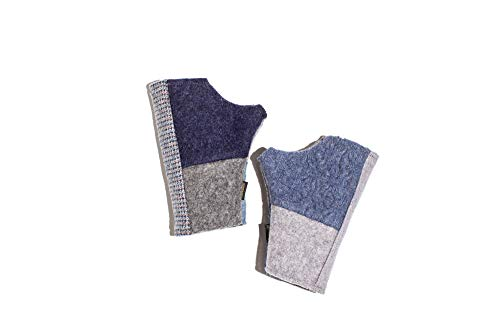 Baabaazuzu Women's Fingerless Gloves (Fleece-Lined, Wool, One of a Kind) (Blue)
