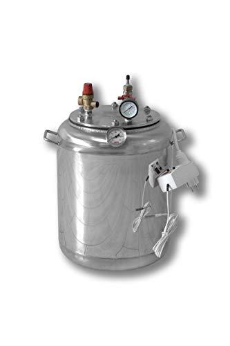 Edelstahl Elektrische Autoklav - entwickelt für die Konservierung von Haushaltsprodukten Automatische Temperatur- und Zeitunterstützung (Vollautomatik) (16 Gläser 0,5 Liter oder 7 Gläser 1 Liter)
