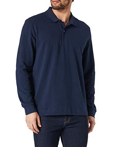 Seidensticker Herren Polo Pique Langarm Polohemd, Navy, XL