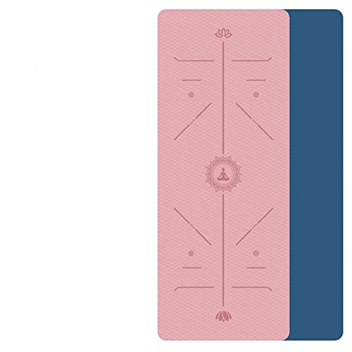 Akaid Estera de yoga, con línea de posicionamiento Estera de alfombra antideslizante adecuada para principiantes Estera de gimnasio de fitness ambiental