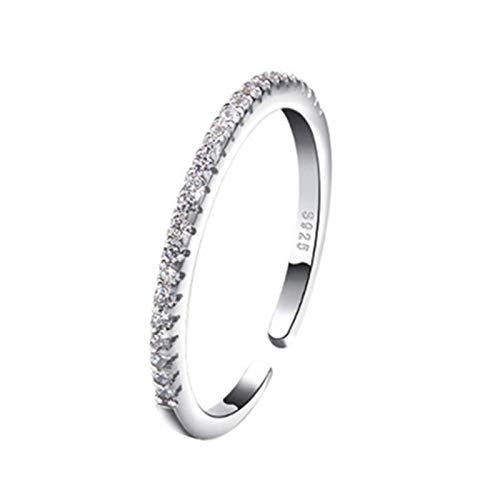 Mayelia - Anello in argento con cristalli aperti, regolabile, per donne e ragazze