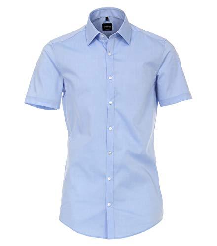 Venti Herren Businesshemden Uni Body Fit Azurblau 39