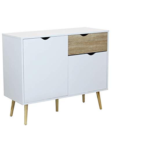 Credenza Mobile Madia Moderna in Legno Colore Bianco di Design Moderno Stile Minimalista, Cm 99 X 39 X 82 H