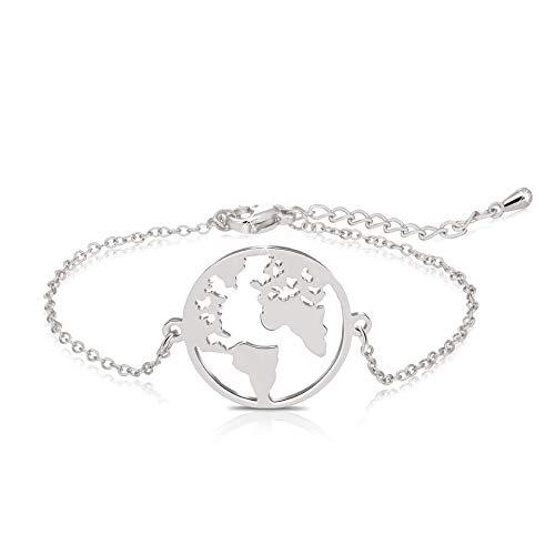 salefun Pulsera con colgante de mapamundi, bola del mundo, para mujer, chapado en plata