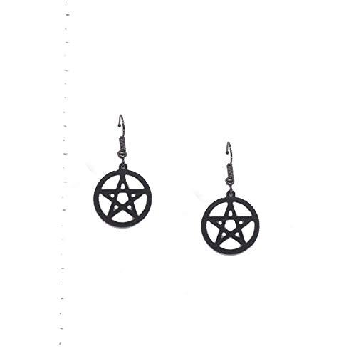 JIAJBG Pendientes Vintage Pendientes Oscuros Simples Pendientes de Gota Pentagrama Negro Pendientes Goth Moda/A