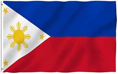 ANLEY Fly Breeze 3x5 Foot (90x150 cm) Filipijnse vlag - Levendige kleuren en UV-bestendig - Canvaskop en dubbel gestikt - Filipijnse Filippijnse nationale vlaggen Polyester met messing doorvoertules 3 X 5 Ft