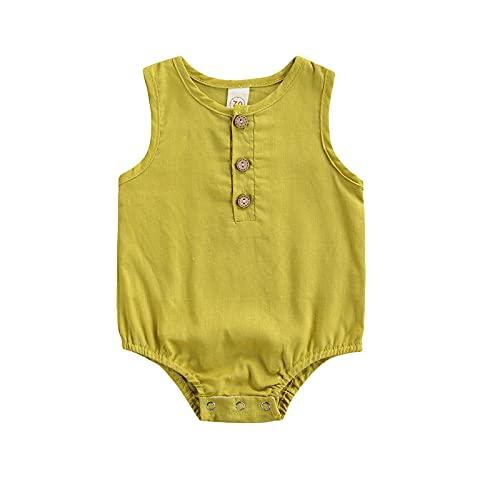 Bebé recién nacido niña sin mangas mameluco con cierre de botón Color sólido estilo casual ropa de verano