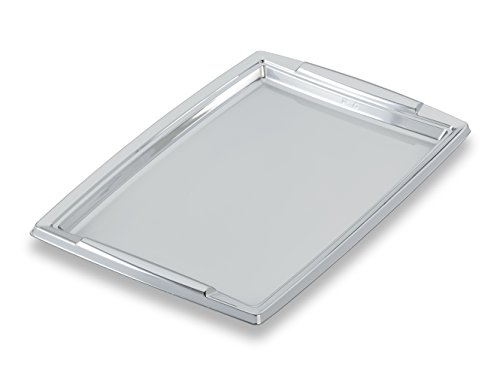 GUILLIN - FESTIPACK PLC3625AR SACHET DE 5 Plat de Service Festif Rectangulaire avec Poignées, Polyéthylène, Argent, 36 x 25,3 x 1,8 cm