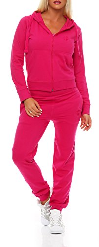 Gennadi Hoppe Damen Jogginganzug Trainingsanzug Sportanzug, pink,XL