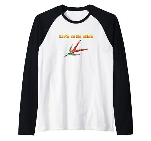 hummingbirds humming-bird life is so good bird watcher item Raglan Baseball Tee