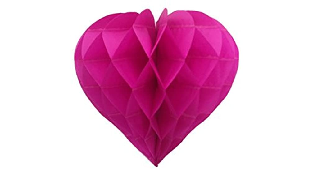 Matissa Pack of 3 Valentines Decoration Heart Shaped Paper Honeycomb Birthday Party Wedding Available in 11 Colours 3 Sizes (All Hot Pink, 8