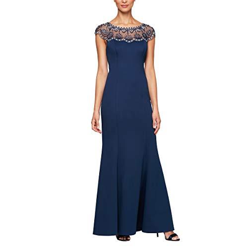 Alex Evenings Women's Long Shift Dress Illusion Neckline (Petite and Regular), Navy Scallop, 6 (Apparel)