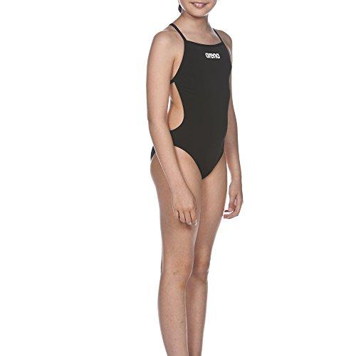 arena Mädchen Trainings Badeanzug Solid Lighttech (Schnelltrocknend, UV-Schutz UPF 50+, Chlorresistent), schwarz (Black-White), 152