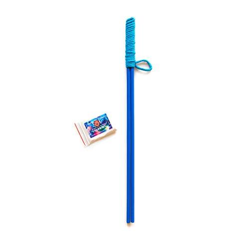 Bubble Brothers Seifenblasen-Stab für Riesenseifenblasen mit Pulver für 5 Liter Flüssigkeit, fur Kinder, Erwachsene, Buchenholz, handgemacht. Garten Spielzeug Outdoor Spielzeug (Blau)