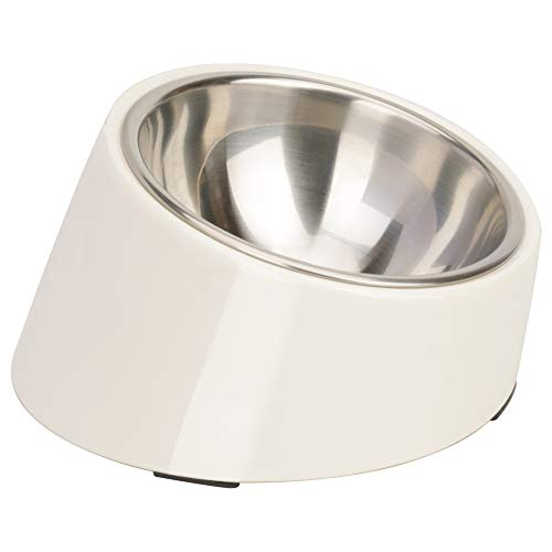 Super Design Mess Free 15° Slanted Bowl for Dogs and Cats, Tilted Angle Bulldog Bowl Pet Feeder, Non-Skid & Non-Spill, Easier to Reach Food S/0.5 Cup Cream White