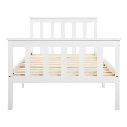 Belissy Capacidad de carga de hasta 80 kg, cama de 90 x 190 cm, estructura de cama de madera maciza de 90 x 190 cm, cama de madera de 90 x 190 cm, cama de madera maciza con somier, cama de pino blanco