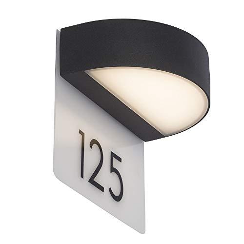 AEG buitenwandlamp met huisnummer, aluminium, 9 W, antraciet/wit