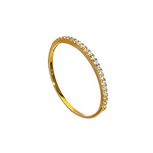 Anello impilabile veretta di pietre CZ in oro giallo 9ct - misura 15 (disponibile nelle misure 8-23)