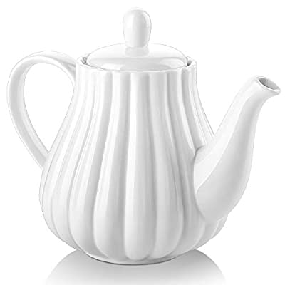30 Ounce Ceramic Teapot, Pumpkin Fluted Shape, Large Handle for Easy Holding, Dishwasher Safe, White