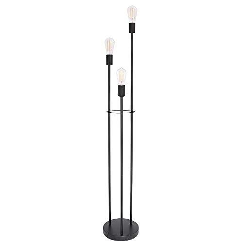 Lámpara de pie negra sin pantalla, redonda, 3 varillas, cable: 1,8 m