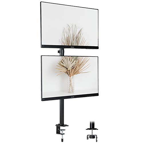 IMLIB - Soporte para monitor de 2 monitores (vertical, para pantallas LCD LED de 13 a 32 pulgadas, doble monitor, con altura ajustable, inclinable, giratorio y giratorio)