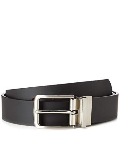Marca Amazon - find. Cinturón de Cuero Hombre, Negro (Bronceado), L, Label: L