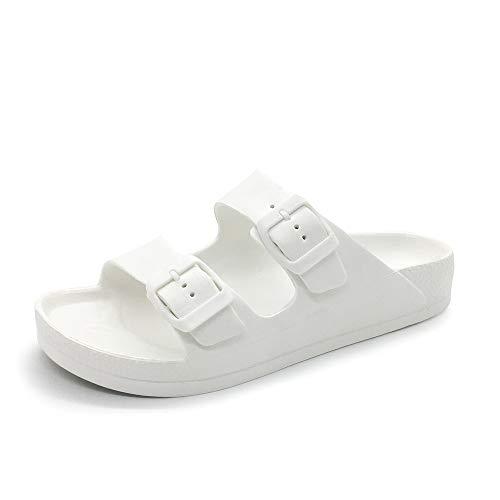 FUNKYMONKEY Women's Comfort Slides Double Buckle Adjustable EVA Flat Sandals (8 M US-Women, White)