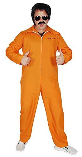 Foxxeo oranger Sträflings-Overall für Erwachsene Gefangener Kostüm Herren Damen Sträfling Männer Fasching Kostüme Karneval, Größe S