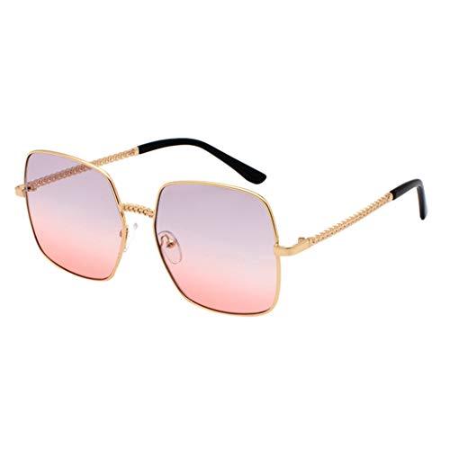 Gafas de sol de Hombres y Mujer Fashion glasses Marco de metal Gafas Lentes cuadradas Gradiente Color Polarizadas Clásico Retro Gafas Sunglasses UV400 Vacaciones casuales MMUJERY