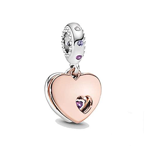 LIJIAN DIY 925 Sterling Jewelry Charm Beads Rose Gold Heart Hacer Original Pandora Collares Pulseras Y Tobilleras Regalos para Mujeres
