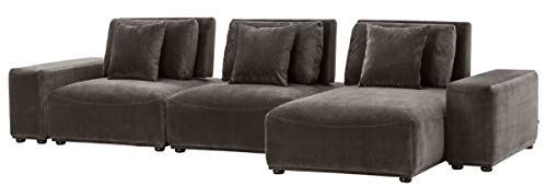 Casa Padrino Luxus Wohnlandschaft Grau/Schwarz 340 x 159 x H. 83 cm - Wohnzimmer Sofa mit 6 Kissen - Luxus Qualität