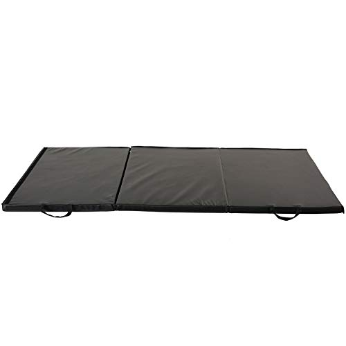 Sunny Health & Fitness Folding Gymnastics Mat - Extra Thick with Carry Handles - for Exercise, Yoga, Fitness, Aerobics, Martial Arts, Gym Mat, Cardio, Tumbling (6 FT x 3 FT)