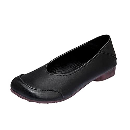 DAIFINEY Damen Mokassin Slipper Loafers Segelschuhe Bootschuhe Leichte Comfort Schuhe Hüttenschuhe Schlupfschuh Slip on modisch Freizeitschuh Bequeme Flache(1-Schwarz/Black,41) 345