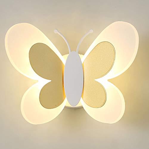 MINGRT Apliques de Pared de LED Escaleras, Mariposa Creatividad 14W Iluminación de Pared para Habitación de Niños con Tire del Interruptor Lámpara de Noche para Dormitorio, Pasillo (Color : Yellow)