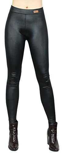 dy_mode Herbst/Winter Leggings Damen/Thermo Leggings Kunstleder/Thermohose Kunstleder-Optik - Gr. 34 bis 40 - WL100 (42/XL, WL100-Schwarz)