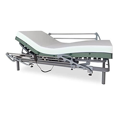 Duérmete Online Pack Cama Eléctrica Articulada Reforzada Ergomedic Pro + Colchón Viscoelástico Bio Medic + Barandillas INOX, Gris Antracita, 105x190