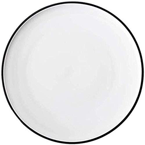 Platos de cena, juegos de cena, bandeja para pizza, creativo, de cerámica, redondo, comercial, para hornear, pasta para el hogar, plato de carne, plato de pizza, blanco