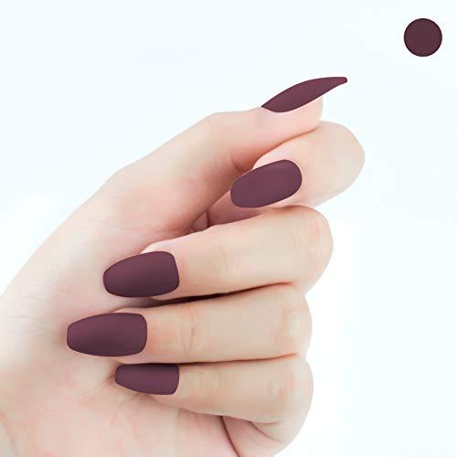 Beashine Künstliche Nägel, Falsche Nägel, 24 Natürliche Französisch Acryl Künstliche Gefälschte Falsche Nägel Kunst Tipps mit Box für Damen, Mädchen Nägel für Nagel-Salons & DIY-Nailart(P83 weinrot)
