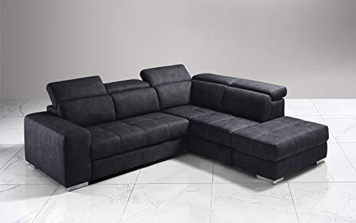 Dafne Italian Design Sofá cama esquinero de 3 plazas con chaise longue a la derecha. Polipiel efecto nobuk grafito (266 x 230 x 94 cm)