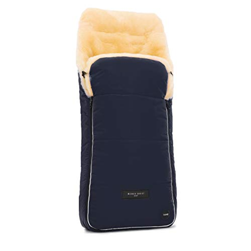 Saco universal AROSA LUXE de piel de cordero para carrito de bebé WERNER CHRIST BABY - Curtido medicinal, saco para coche, sillas de paseo o Buggy, en color azul navy