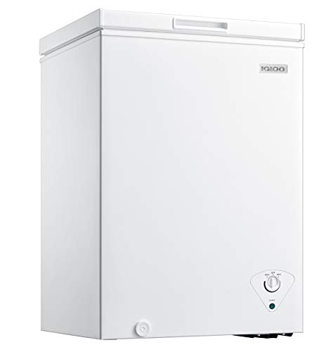 Igloo ICFMD35WH 3.5 Cu. Ft. Chest Freezer With Removable Basket Free-Standing Door, Temperature Ranges From-10° to 10° F, Front Defrost Water Drain, Perfect for Homes, Garages, Basements, RVs, White