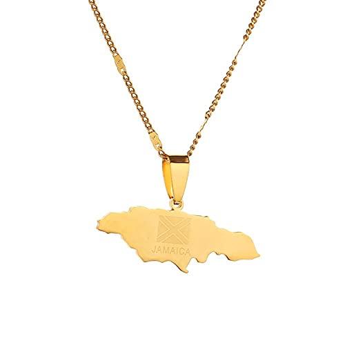 QDGERWGY Collares Pendientes de Mapa de Jamaica de Acero Inoxidable joyería de Encanto de Bandera de Mapa de Jamaica