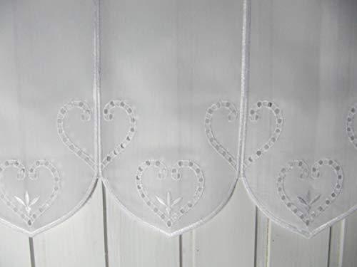 Scheibengardine Weiß Herzmotiv Landhaus Alpenstil 45 cm H oder 60 cm H/Br. ab 1 Meter, Höhe:60