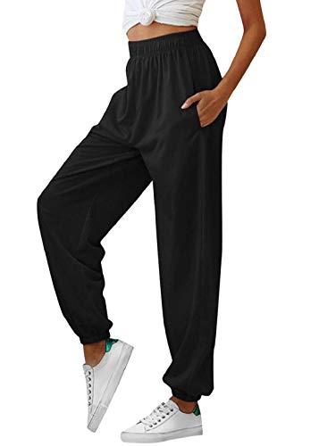 heekpek Pantaloni Sportivi Donna, Larghi Pantaloni Fitness Donna Pantaloni Palestra Pantaloni Vita Alta Donna con Tasche Fascia Elastica in Vita e alla Caviglia per Correre Balla Yoga Sports
