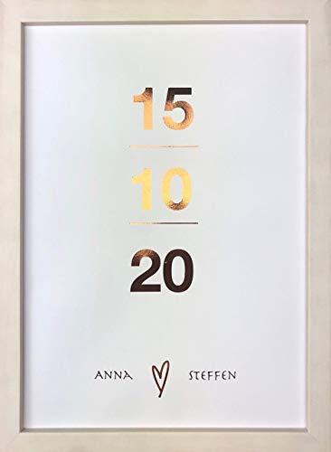 personalisiertes Hochzeitsposter I stilvolles Hochzeitsgeschenk I handveredelt I metallic Glanz I Wandbild DinA 4 I Datum mit Namen