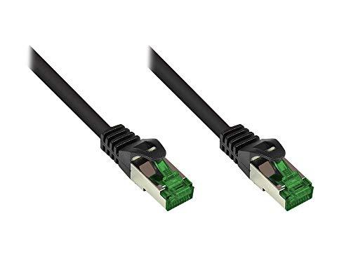 Good Connections® PREMIUM Cat. 6A OUTDOOR Patchkabel - 5 m - IP66 mit Rastnasenschutz - 10-GIGABIT, KUPFERLEITER / CU - S/FTP, PiMF - 500MHz - für den Außenbereich, UV- und Wasser resistent - SCHWARZ